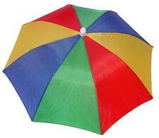 4 Pack Umbrella Hat Cap Hands Free Head Strap for Sun Rain Red Yellow Green Blue