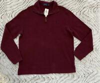 NWT Men's Polo Ralph Lauren SWEATER Half Zip Sweatshirt Large L wine