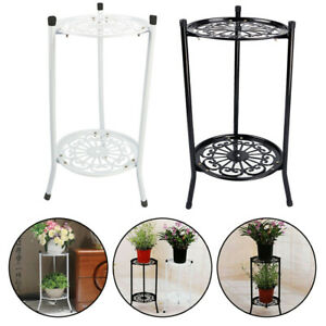 2 Tier Stand Shelf Black/White Elegant Garden Display Flower Pot Holder Decors