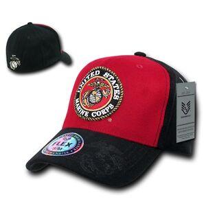 United States Marine Corps USMC US Marines Flex Baseball Fitted Cap Hat L/XL