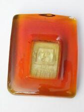 Vide poche en verre orange tête de robot