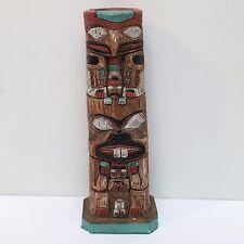 """Haida, Eagle & Beaver Post Totem Pole Statue Candle Holder 6"""" Tall, Used no Box"""