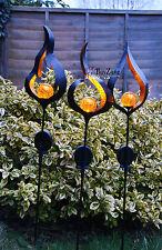 Juego De Metal Con Energía Solar LED Luz de Jardín Al Aire Libre Ornamento de función de efecto de la llama