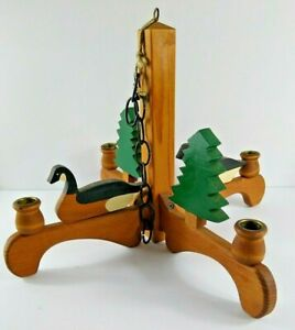 Cabin Lodge Decor Wood Candle Holder Chandelier Hanger Goose Duck Pine Trees