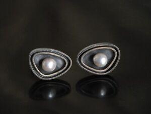 Vtg 1950s 60s Modernist MERLE BOYER Cufflinks Sterling Silver Real Pearl