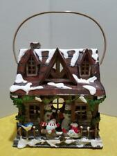 HOMCO HOME INTERIORS TIN LANTERN / VOTIVE CANDLE SNOWMAN CHRISTMAS HOUSE UNUSED