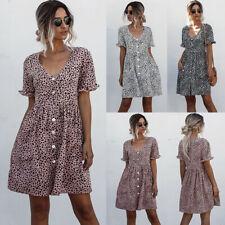 Women Summer V-neck Mini Dress Ladies Short Sleeve Dresses Loose Beach Polka Dot