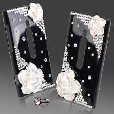COOL LUXURY 3D BLING BLACK & WHITE ROSE DESIGNER DIAMANTE CASE 4 NOKIA LUMIA 800