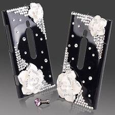 COOL LUXURY 3D BLING BLACK & WHITE ROSE DESIGNER DIAMANTE CASE 4 NOKIA LUMIA 800
