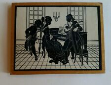 Vintage miniature silhouette bass guitar piano picture wall decor