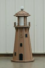 4' (8 sided) Electric and Solar Powered Solid Poly Lawn Lighthouse Mahogany