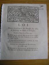 LOI relative aux paroisses de Nantes & Clisson 1791 Révolution