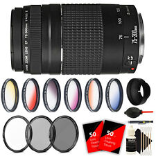 Canon EF 75-300mm f/4-5.6 III Lens Bundle for EOS Rebel T4i T5 T6 60D 70D 80D 5D