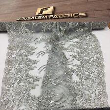 Nazareth Flower Beaded Mesh Lace Bridal Wedding Silver. Sold By Yard
