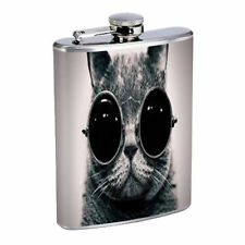Funny Cat D7 Flask 8oz Stainless Steel Cute Silly Crazy Meow Cool Kitten Tricks