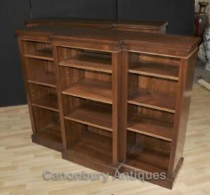 Regency Open Breakfront Bookcase Mahogany Bookcases