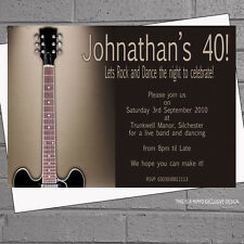 Personalised Mens Electric Guitar Birthday Party Invitations x 12 +envs H0528