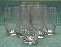 "Set of 7 Tall Clear Glass Water, Juice Drinking Glassware 6"" Pressed Curvy Lines"