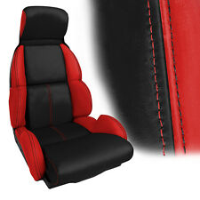 1991-1993 C4 Corvette Black-Torch Red Leather Standard Seat Covers