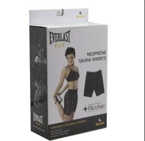 Everlast F.I.T. Neoprene Sauna Shorts Size Large,  Black/Gray, Trap Body Heat
