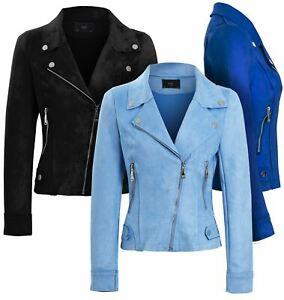 Womens Faux Suede Biker Jacket Pale Blue Cobalt Black Coat Size 8 10 14 16 New