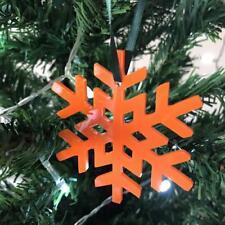 Orange Crystal Snowflake Christmas Tree Decorations & Green Ribbon x 10