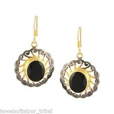 Yellow Gold Plated Silver Black Center Stone Hook Drop Earrings Womens Jewelry