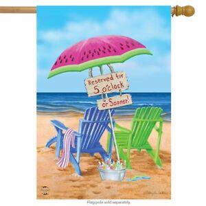 """Beach Bum Summer House Flag Beach Chairs Umbrella 28"""" x 40"""" Briarwood Lane"""