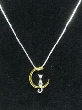 necklace pendant kitten gift gold silver Kitty cat sitting on the crescent moon