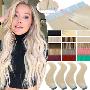 Platinum Skin Weft Tape In Real Remy Human Hair Extensions 20Pcs Full Head Thick