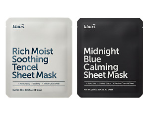 Klairs Rich Moist Soothing Sheet Face Mask OR Midnight Blue Calming Sheet Mask