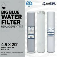 """3 Stage Big Blue Water Filter Replacement Kit, Sediment/KDF/Carbon - 4.5"""" x 20"""""""