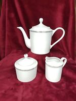 COMPTON FINE CHINA TEAPOT CREAMER & SUGAR SET CLASSIC DOT PLATINUM