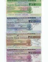LLOYDS BANK LTD  5,10,20,50 POUNDS  1978-81 ERA USED AND PAID SET   AU-UNC