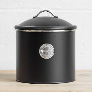 3.5 L Black Air Tight Storage Tin Canister Pasta Flour Biscuit Barrel Sweet Jar