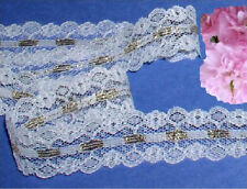 """Gold White Lace Trim 10 Yards x 1"""" CLOSEOUT Galloon I28V Added Trims ShipFree"""