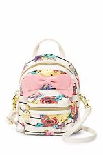 NWT Betsey Johnson White Floral Multi Small (MINI) Backpack Crossbody Bag $88
