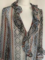 Zara Blouse Size Medium Ruffle Multi-Coloured Pattern 3/4 Sleeve Semi Sheer
