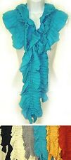 G1002R. Solid Color Ruffle Regular Scarf Lot of 24 (4 each of 6 colors)