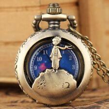 Classic Antique Half Hunter Little Prince Quartz Pocket Watch  Necklace Chain