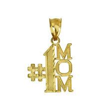 14K Solid Yellow Gold # 1 MOM Talking Charm Pendant