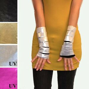 Cut Out Short Gloves Silver Black Wrist Arm Cuffs Hand Warmers Cosplay Costume