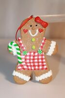 Resin Gingerbread Girl Lady Christmas Tree Ornament Candy Cane Candies Sparkly