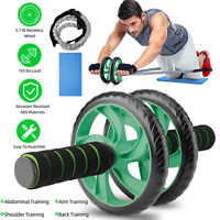AB Roller Wheel Abdomina+Knee Mat/Resistance Band Gym Core Exercise Fitness USA