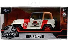 New JADA JURASSIC WORLD JEEP WRANGLER 1/32 Scale DIECAST MODEL CAR WHITE
