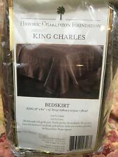 Historic Charleston King Charles Chocolate Brown cotton Matelasse King Bedskirt