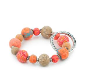 NEW JILZARAH Handmade Clay Beads ORANGE CORAL CRUSH 15mm SMALL Wrist Keychain