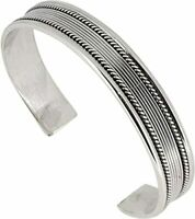Solid 925 Sterling Silver Bangle Bracelet Men's Silver Cuff Bangle for Men