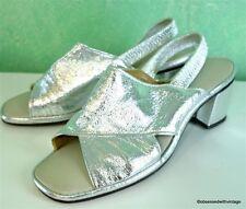 Vtg 60's mod silver sling back peal toe heel 6/7M