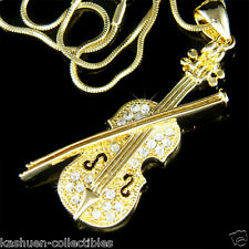 Gold Pl w Swarovski Crystal Fiddle VIOLIN Bow Music musical Pendant Necklace New